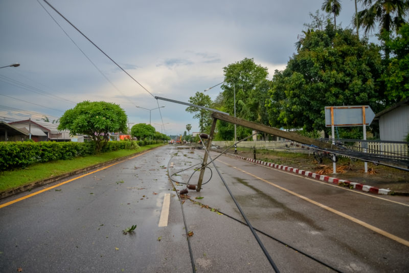 fallen electric lines on road
