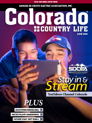Two young kids looking at a tablet. SDCEA 2019 Annual Report Inside. Sangre de Cristo Electric Association Inc. Colorado Country Life June 2020. Stay in & Stream. YouTubers Channel Colorado. Plus Mouthwatering BBQ 12. Native Plant Gardening 22. Father's Day Gift Ideas 30