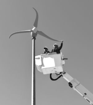 The Skystream 3.7 mini-turbine windmill,