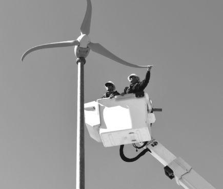 The Skystream 3.7 mini-turbine windmill,