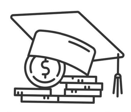 graduation cap on diplomas illustration