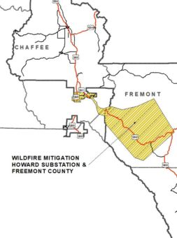 wildfire mitigation howard substation and fremont county map
