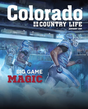Colorado Country Life January 2019. Big Game Magic. Illustration of running American football players.
