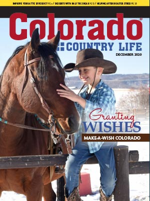 Boy with horse on December 2020 Colorado Country Life magazine cover
