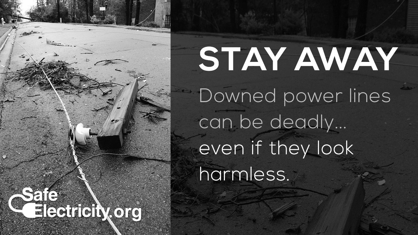 Stay away. Downed power lines can be deadly… even if they look harmless. SafeElectricity.org.