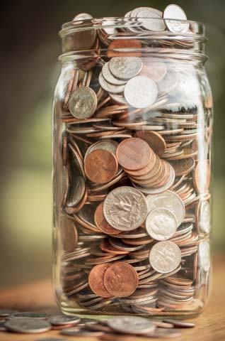 Jar of spare change